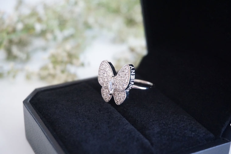 Classic White Butterfly Ring