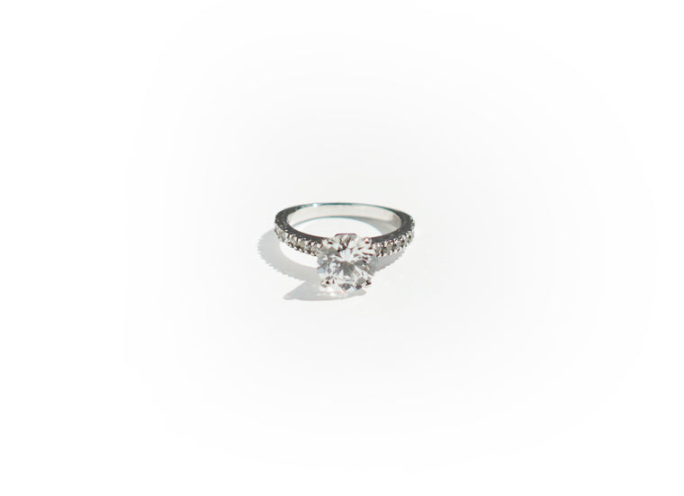4 Prong Band Setting Solitaire Ring (1ct, 2ct, 3ct)