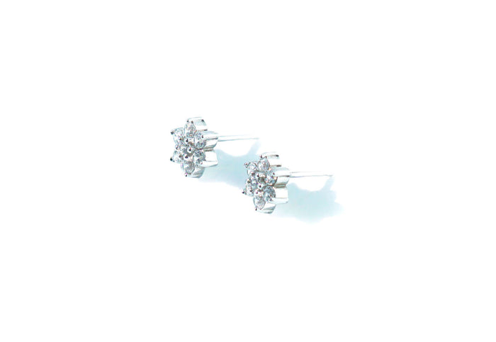 Flower Stud Diamond Earrings