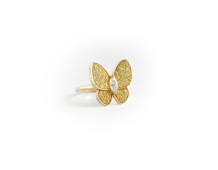 Classic Yellow Butterfly Ring