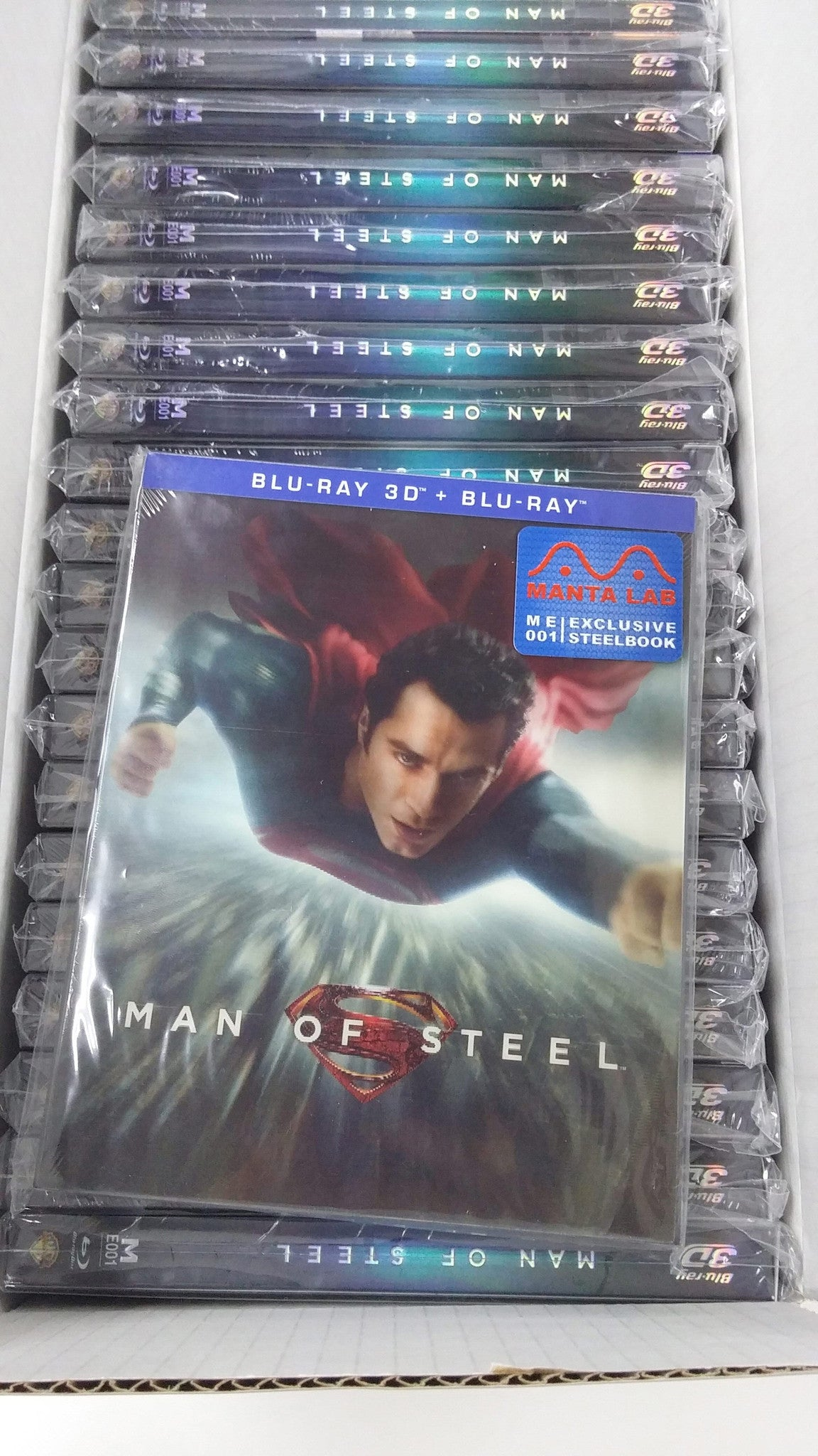 "Final box of ""Man of Steel' Lenticular Slip"