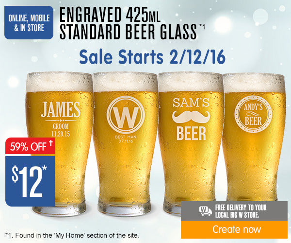 $12 Engraved 425ml Standard Beer Glasses