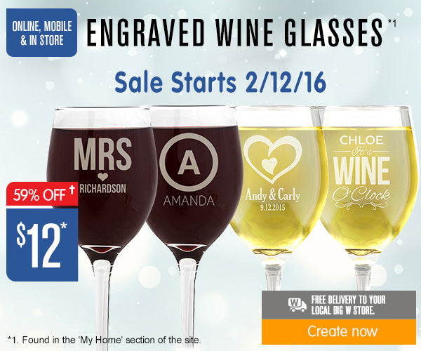 $12 Engraved Wine Glasses