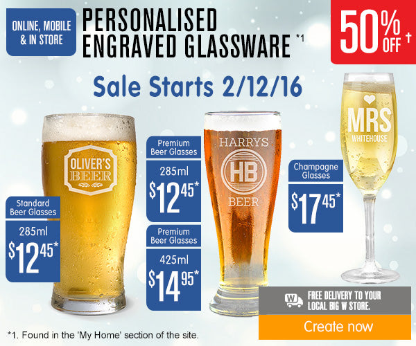 50% off Engraved Glassware