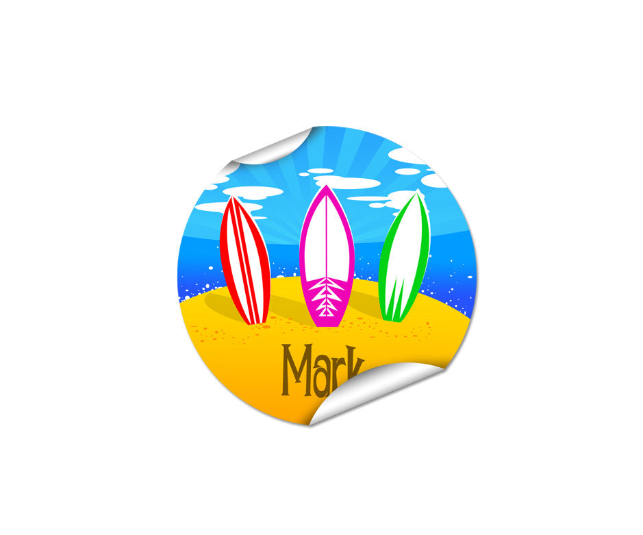 Summer Surf 48pk Labels - Round
