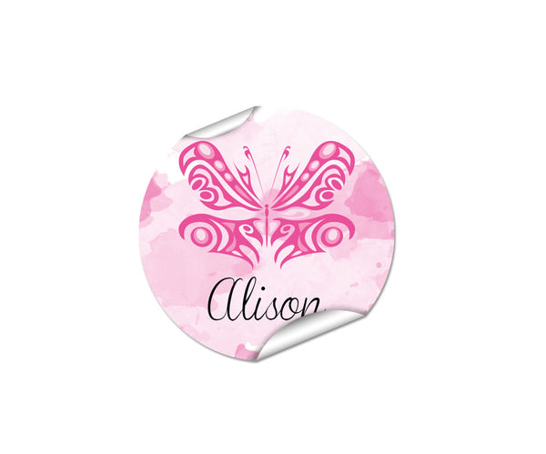 Pink Butterfly 48pk Label - Round
