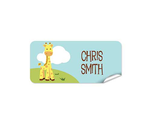 Cute Giraffe 42pk Labels - Rectangle
