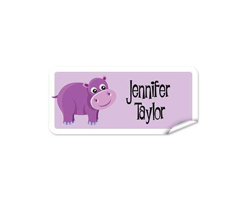 Purple Hippo 48pk Labels - Rectangle