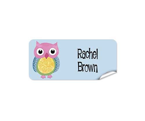 Colourful Owl 42pk Labels - Rectangle