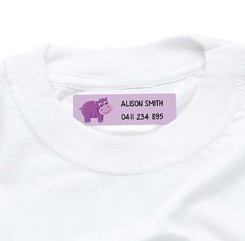 Iron On Labels 44pk - Purple Hippo