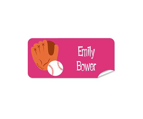 Baseball Pink 48pk Labels - Rectangle