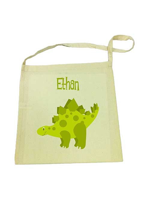 Calico Tote Bag - Green Dinosaur
