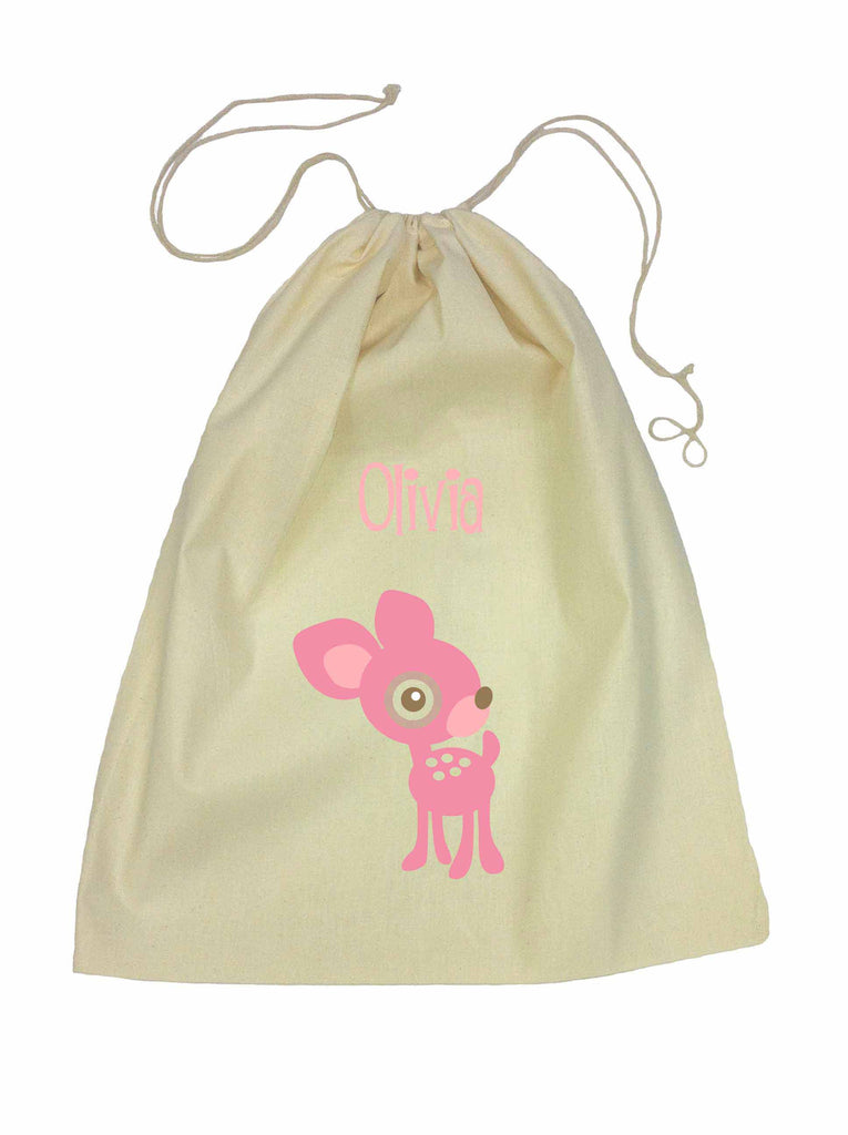 Calico Drawstring Bag - Pink Deer
