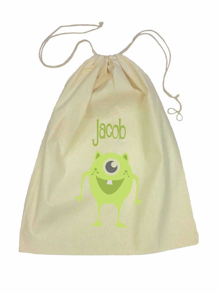 Calico Drawstring Bag - Green Alien