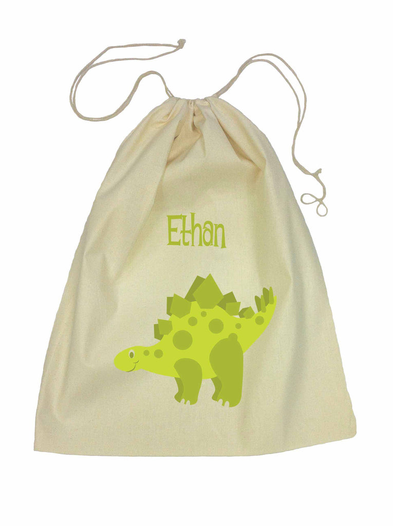 Calico Drawstring Bag - Green Dinosaur