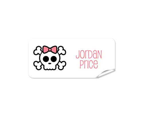 Skull on White 48pk Label - Rectangle