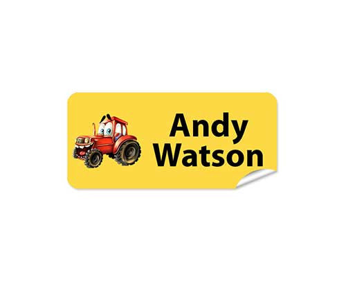 Tractor Yellow 48pk Labels - Rectangle