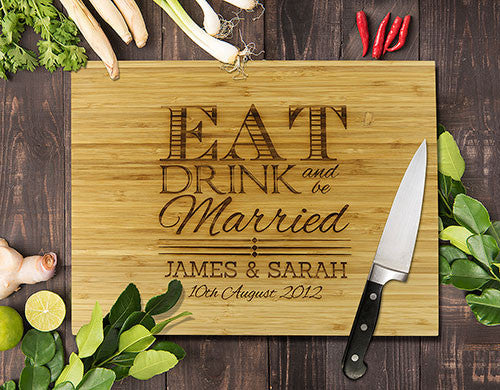 Eat Drink Bamboo Cutting Boards 8x11""