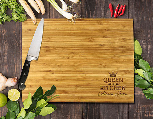 "Queen Of The Kitchen Bamboo Cutting Board 12x16"" (Temporary Out of Stock)"