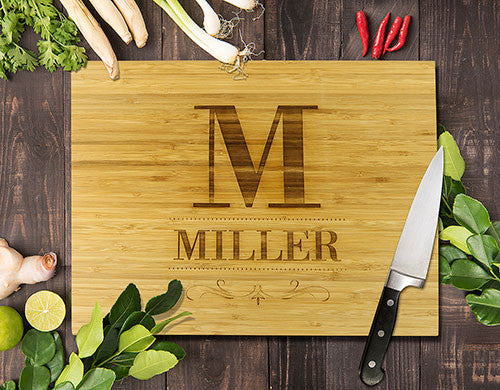 Surname Bamboo Cutting Board 12x16""