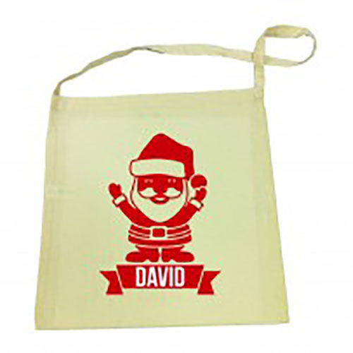 Red Santa Christmas Calico Tote Bag