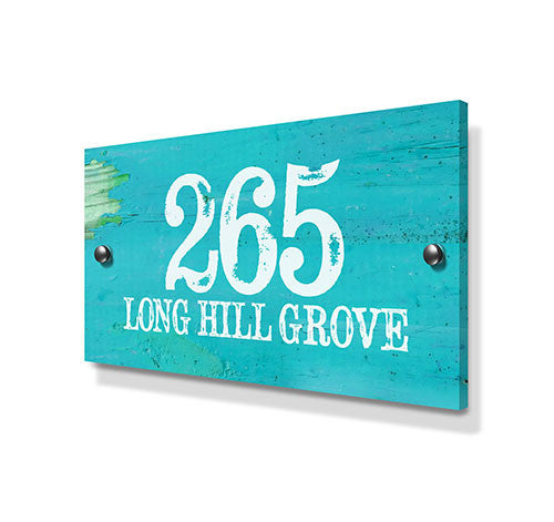 Weathered Blue Beach House Effect Metal House Sign