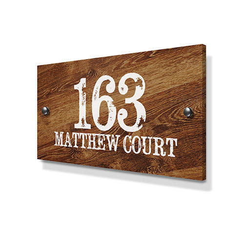 Wood Pine Metal House Sign