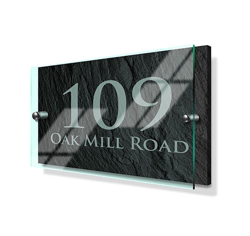 Slate Effect Classic Metal Sign with Premium Acrylic Front