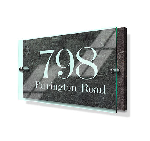 Stone Effect Classic Metal Sign with Premium Acrylic Front