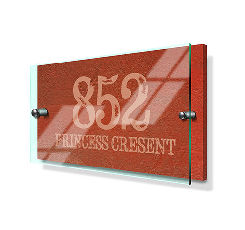Orange Cement Effect Classic Metal Sign with Premium Acrylic Front