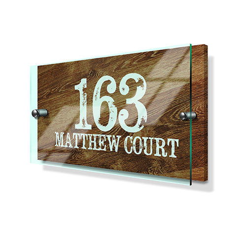 Wood Pine Effect Classic Metal Sign with Premium Acrylic Front