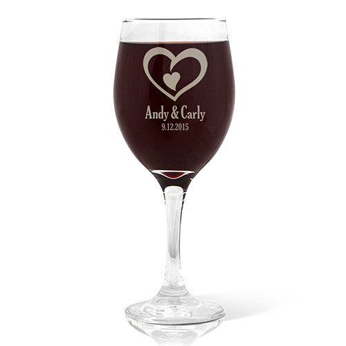 Double Heart Design Wine Glass