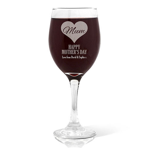 Mum in Heart Wine 410ml Glass