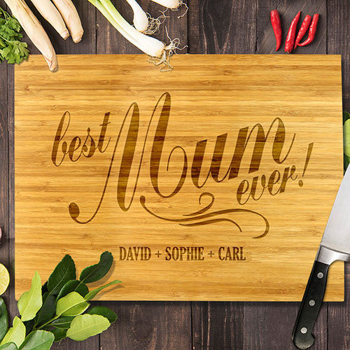 "Best Mum Ever Bamboo Cutting Board 8x11"" (Temporary Out of Stock)"