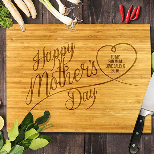 "Happy Mother's Day Bamboo Cutting Board 8x11"" (Temporary Out of Stock)"