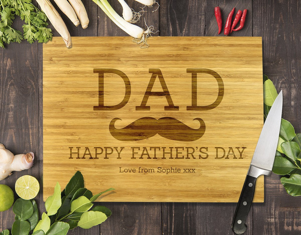 Dad Moustache Bamboo Cutting Board 8x11""