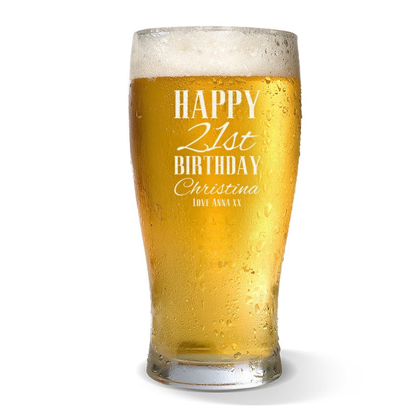Classic Happy Birthday Standard 425ml Beer Glass