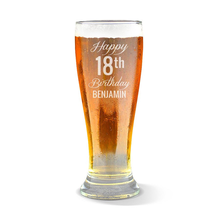 Fancy Happy Birthday Premium 425ml Beer Glass