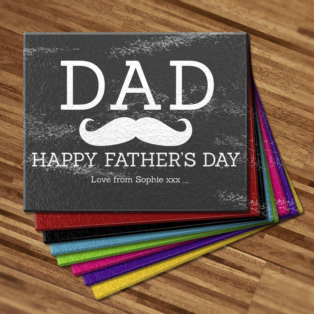 Dad Moustache Glass Cutting Board