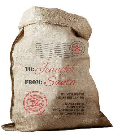 North Pole Express Hessian Santa Sack