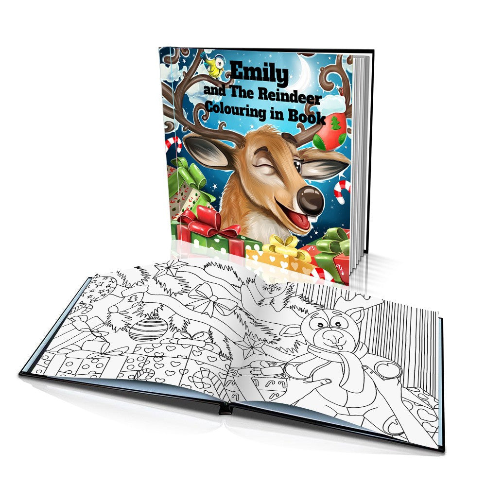Santa's Reindeer Hard Cover Colouring Book