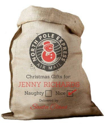 Christmas Gifts Hessian Santa Sack