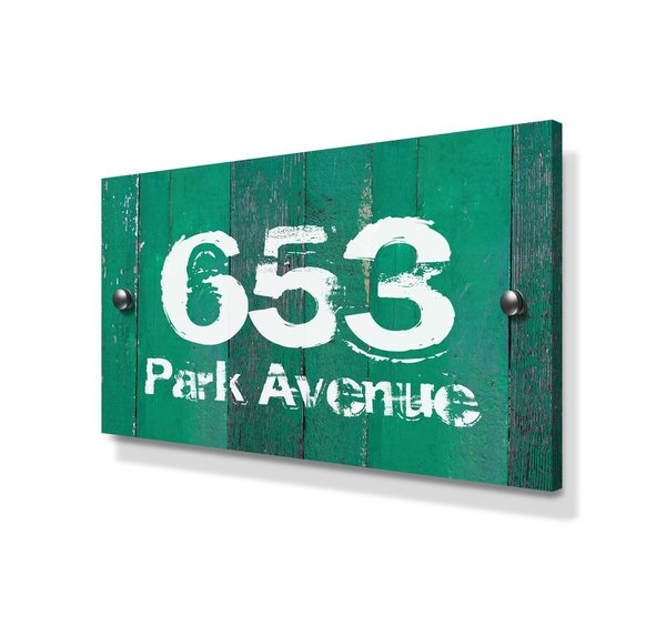 Green Wood Panel Effect Large Metal House Sign