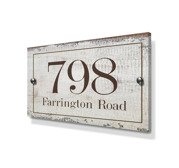 Rustic Effect Large Metal House Sign