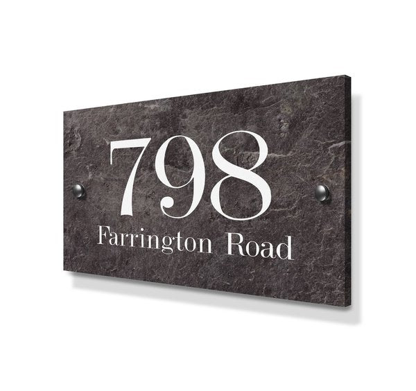 Stone Effect Large Metal House Sign