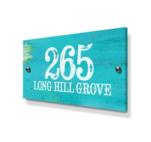 Weathered Blue Beach House Effect Large Metal House Sign