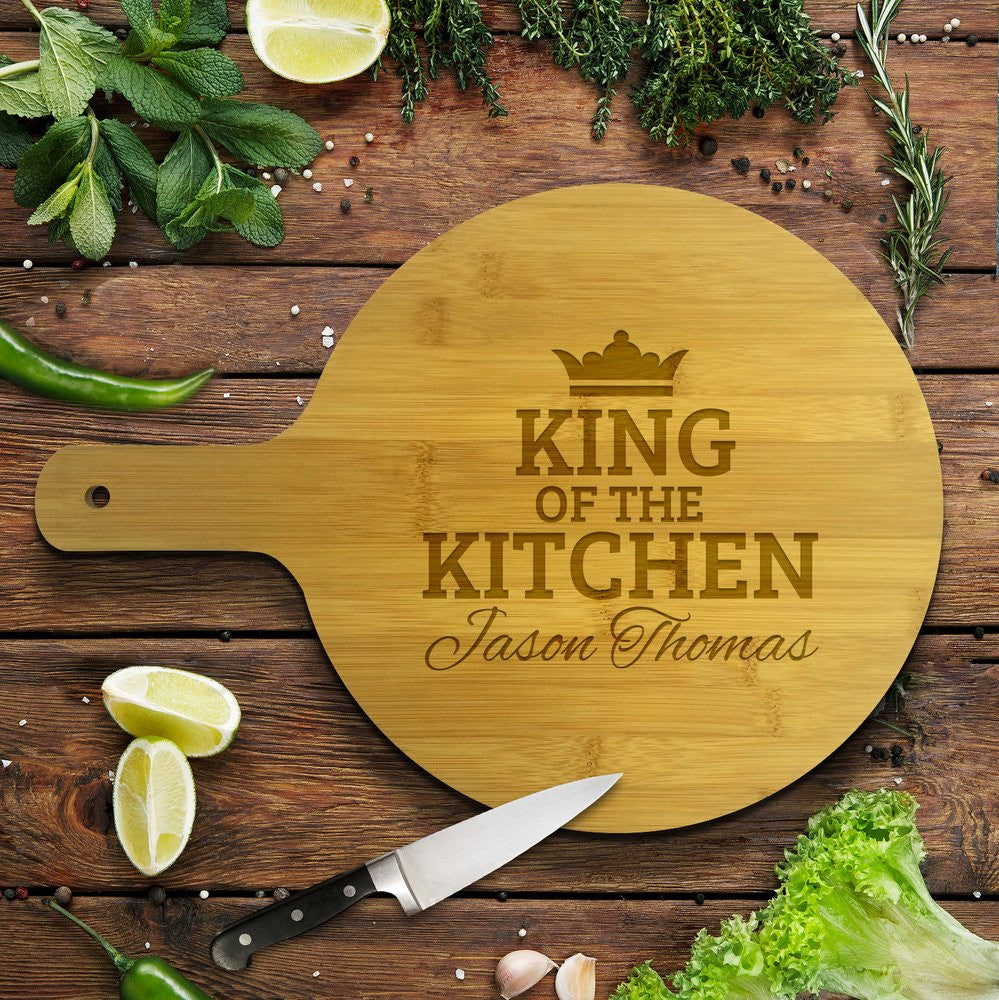 King of the Kitchen Round Bamboo Serving Board