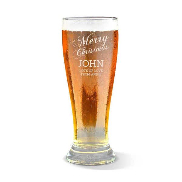 Merry Christmas Premium 425ml Beer Glass