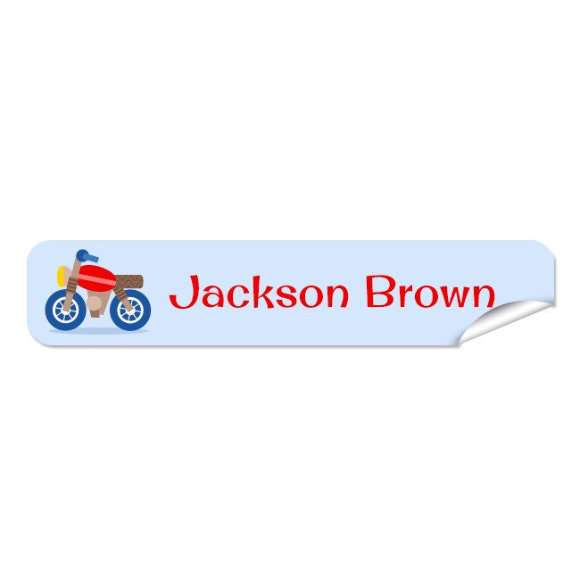 Mini Name Labels 78pk - Motorbike