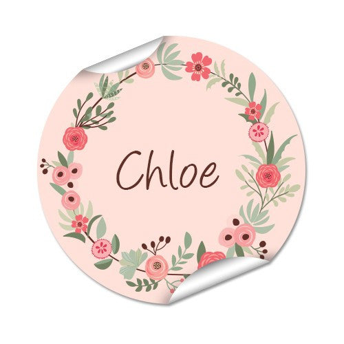 Flower Wreath 48pk Labels - Round